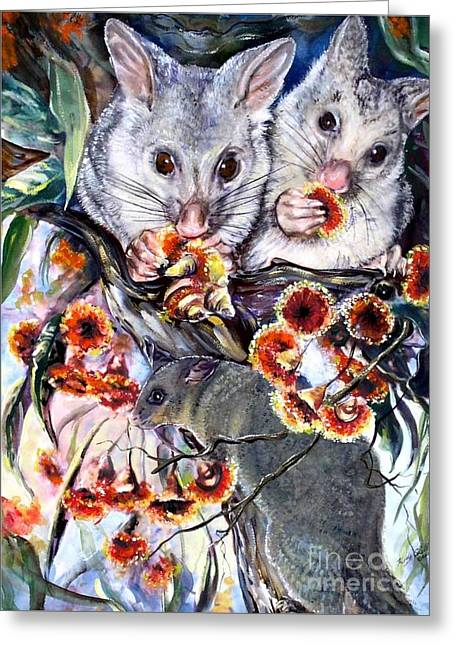 Possum Family Greeting Card