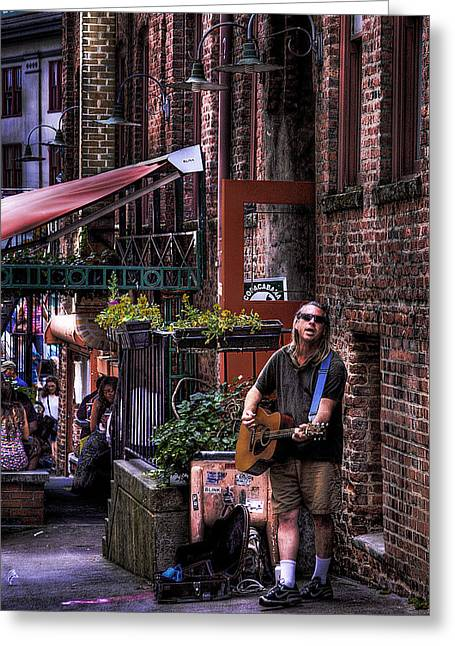Post Alley Musician Greeting Card by David Patterson