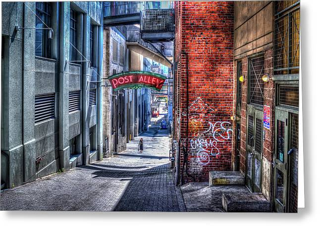 Post Alley Straggler Greeting Card by Spencer McDonald