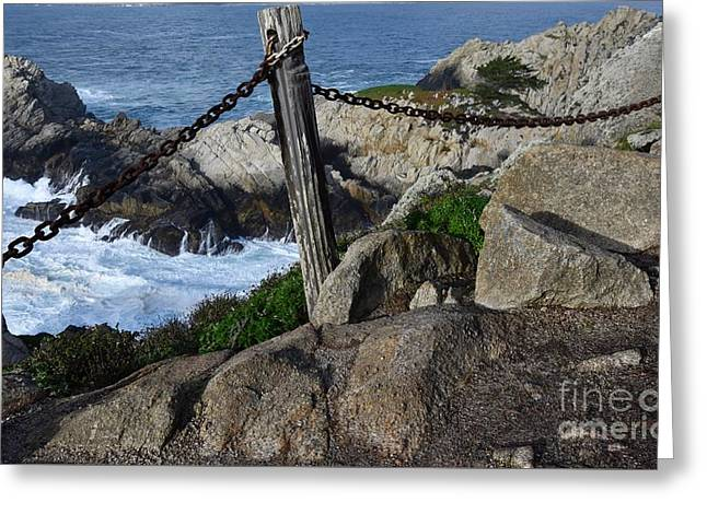 Post, Chain, Ocean Greeting Card by Bruce Chevillat