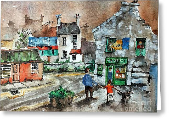 Post Office Mural In Ennistymon Clare Greeting Card