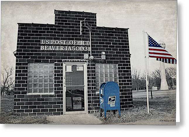Post Office Beaver Iowa Greeting Card by Kathy M Krause