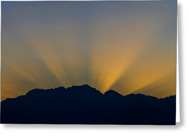 Post Sunset Sun Rays Over Mount Constance Olympic Mountains Wa Greeting Card