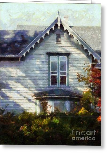 Greeting Card featuring the photograph Postage Due - Farmhouse Window by Janine Riley