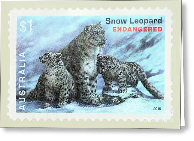 Greeting Card featuring the photograph Postage Stamp - Snow Leopard By Kaye Menner by Kaye Menner