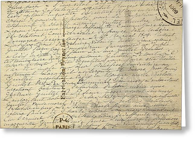 Postcard From Paris Square Greeting Card by Edward Fielding