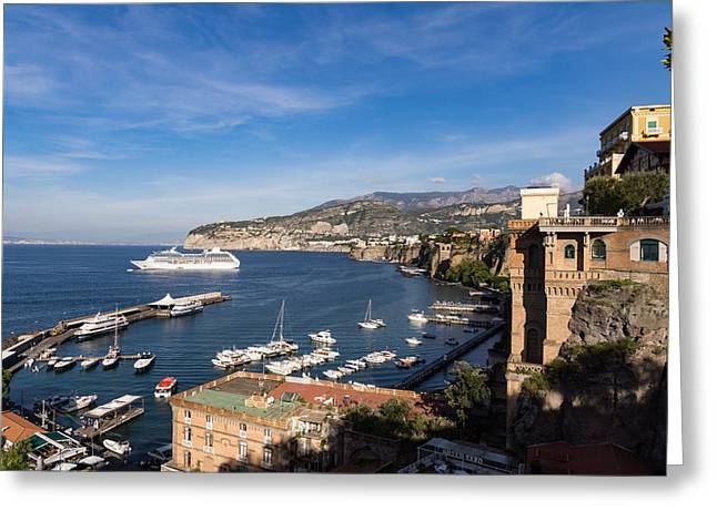 Postcard From Sorrento Italy - The Harbor The Boats And The Famous Clifftop Hotels Greeting Card by Georgia Mizuleva
