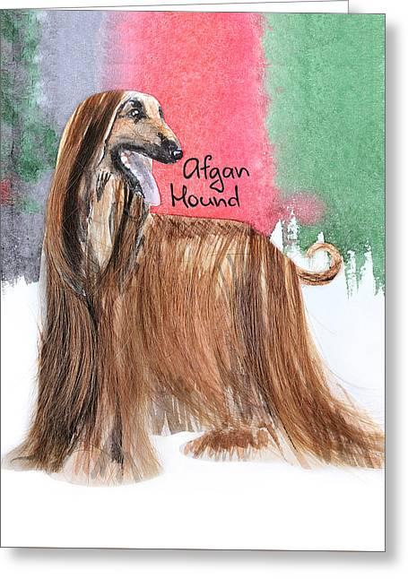 Watercolor Postcard Dogs Afgan Hound Greeting Card by Maryna Lievshyna