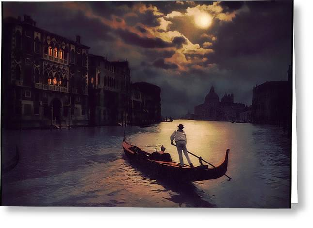 Greeting Card featuring the painting Postcards From Venice - The Red Gondola by Douglas MooreZart