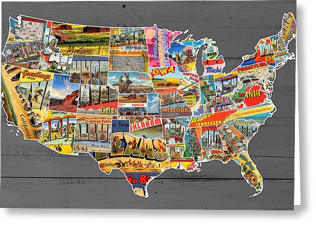 Postcards Of The United States Vintage Usa Lower 48 Map On Gray Wood Background Greeting Card by Design Turnpike