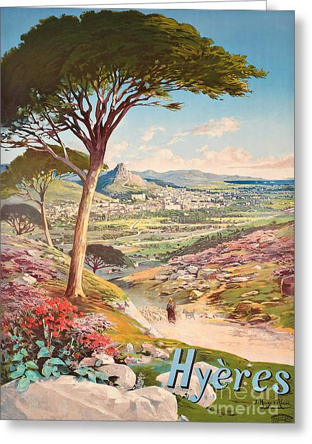 Poster Advertising Hyeres, France, 1900 Greeting Card by Hugo dAlesi