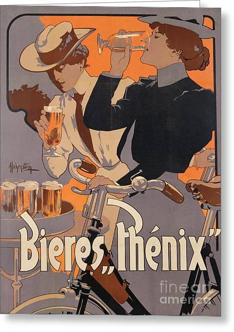 Orange Posters Greeting Cards - Poster advertising Phenix beer Greeting Card by Adolf Hohenstein
