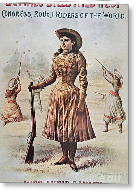 Poster For Buffalo Bill's Wild West Show With Annie Oakley Greeting Card by American School