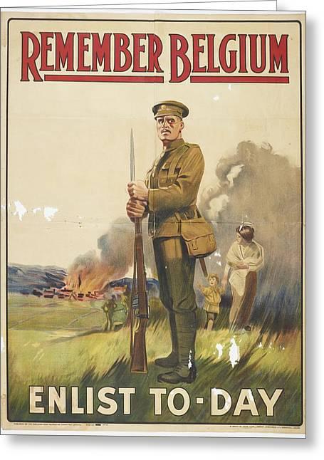 Poster, Remember Belgium, November 1914, United Kingdom, By Henry Jenkinson Ltd., Parliamentary Recr Greeting Card
