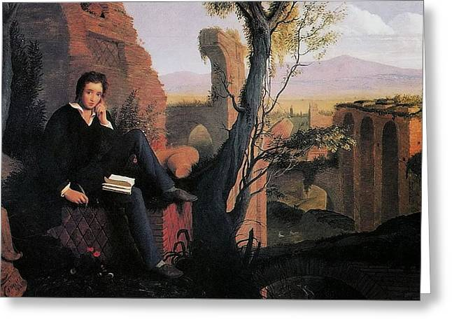 Posthumous Portrait Of Shelley Writing Prometheus Greeting Card by MotionAge Designs