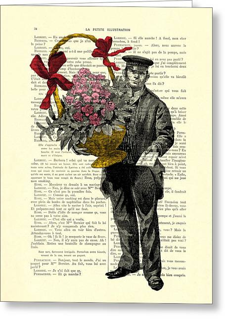 Postman Delivering Bouquet Of Flowers Greeting Card