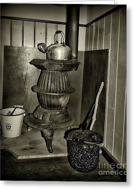 Pot Belly Stove In Black And White Greeting Card