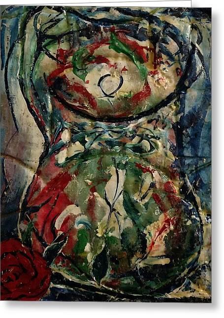 Potpourri Vase With Rose Greeting Card