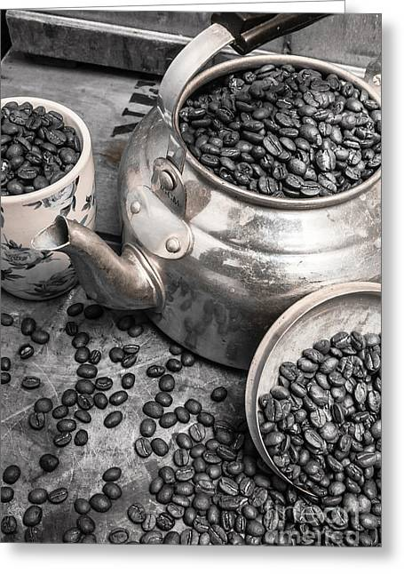 Pot Of Old Coffee Beans Greeting Card by Jorgo Photography - Wall Art Gallery