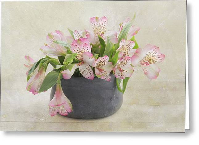 Greeting Card featuring the photograph Pot Of Pink Alstroemeria by Kim Hojnacki
