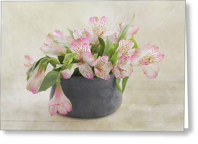 Pot Of Pink Alstroemeria Greeting Card