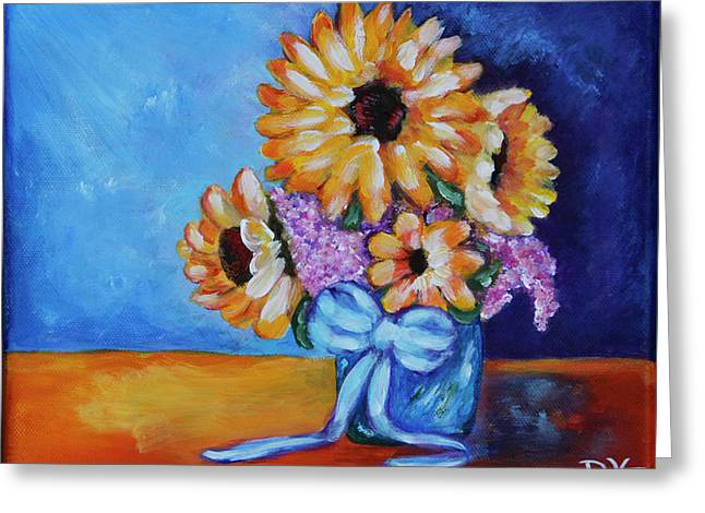 Pot Of Sunflowers Greeting Card by Diana Haronis