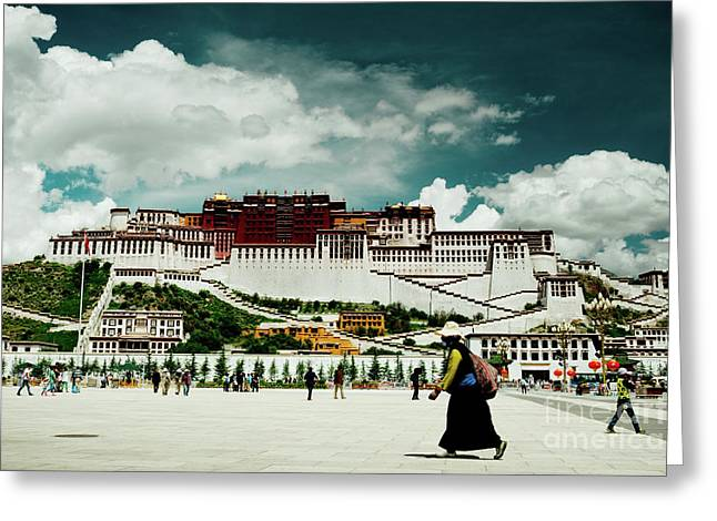 Greeting Card featuring the photograph Potala Palace. Lhasa, Tibet. Yantra.lv by Raimond Klavins