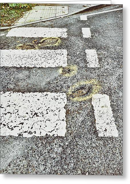 Potholes In A Road Greeting Card by Tom Gowanlock