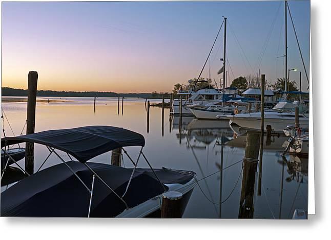 Potomac River At Sunrise Belle Haven Marina Alexandria Virginia Greeting Card by Brendan Reals