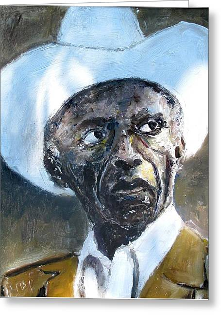 Potrait Of Drummer Art Blakey Greeting Card by Udi Peled