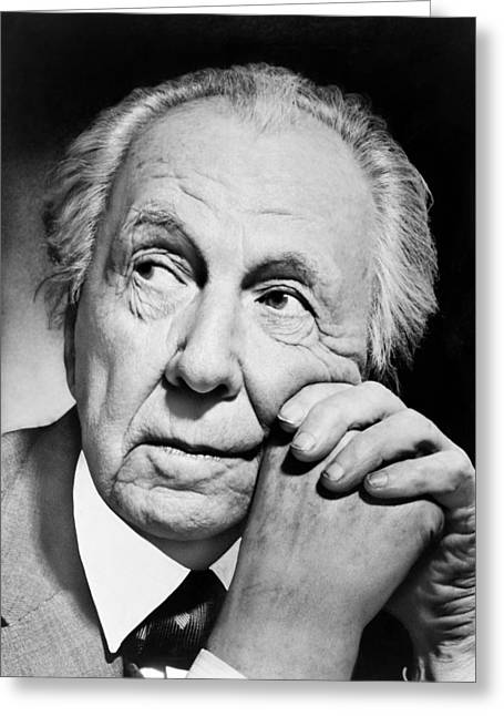Potrait Of Frank Lloyd Wright Greeting Card by Underwood Archives