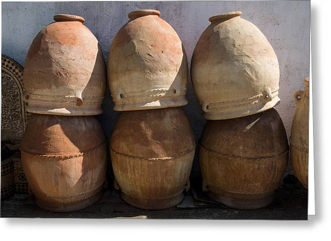 Pots For Sale At Pottery, Fes, Morocco Greeting Card by Panoramic Images
