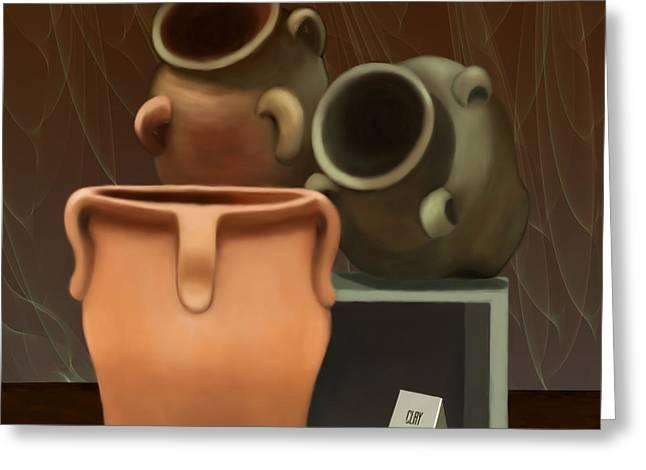 Water Jug Greeting Cards - Pots of Clay Greeting Card by Sena Wilson
