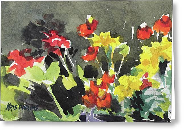 Pots Of Flowers Greeting Card by Kris Parins
