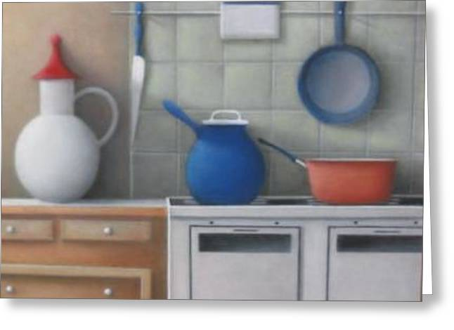 Pots On Stove Greeting Card by Alfredo DeCurtis