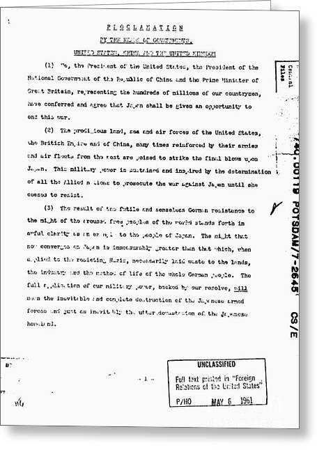 Potsdam Proclamation, 1945 Greeting Card