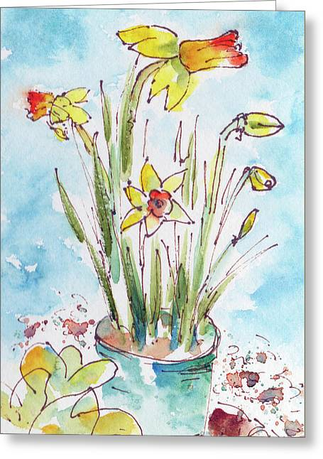 Greeting Card featuring the painting Potted Daffodils by Pat Katz