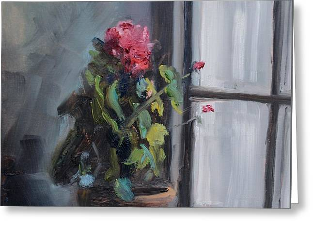 Potted Geranium In Windowsill Greeting Card