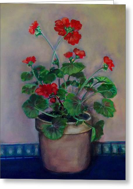 Potted Geranium Greeting Card by Irena Mohr