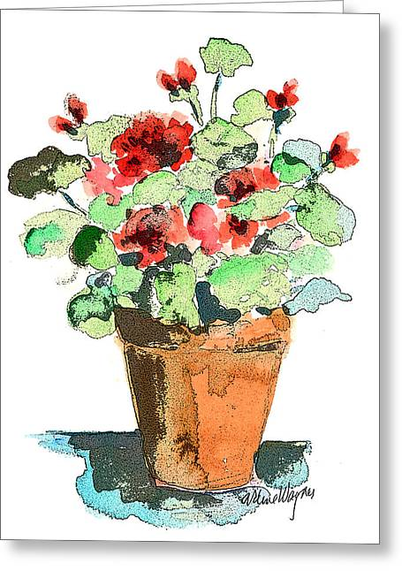 Potted Geraniums Greeting Card by Arline Wagner