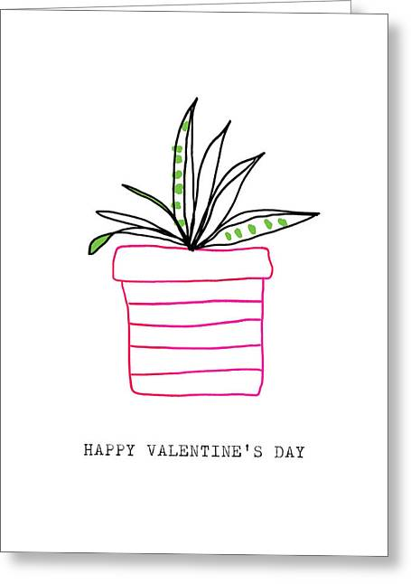 Potted Plant Valentine- Art By Linda Woods Greeting Card by Linda Woods