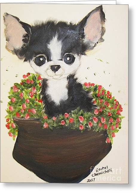 Potted Pup Greeting Card by Rachel Carmichael