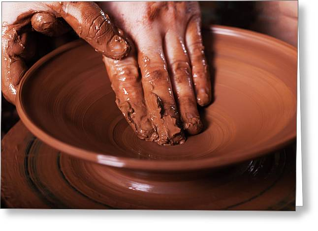 Potter Shaping Clay On The Pottery Wheel Greeting Card