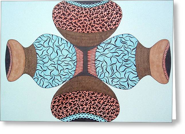 Greeting Card featuring the drawing Pottery In Earthtones by Beth Akerman