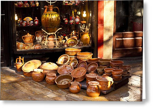 Pottery In The Bazaar Greeting Card by Rae Tucker
