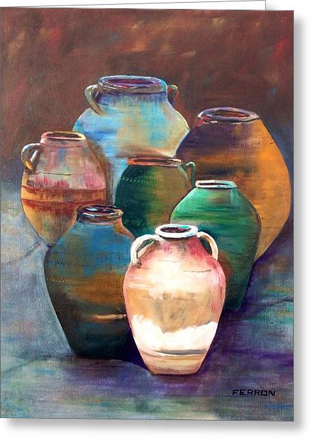 Greeting Card featuring the painting Pottery Jars by Patti Ferron