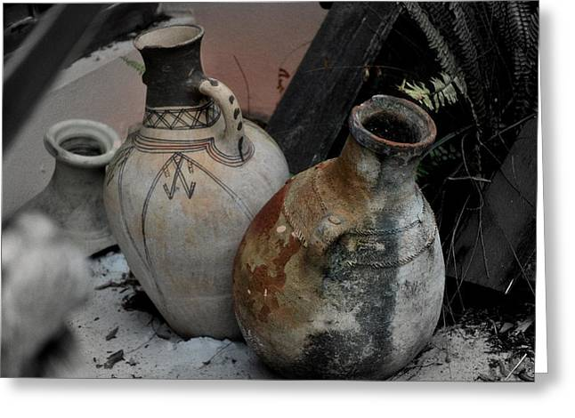 Greeting Card featuring the photograph Pottery by Laura DAddona