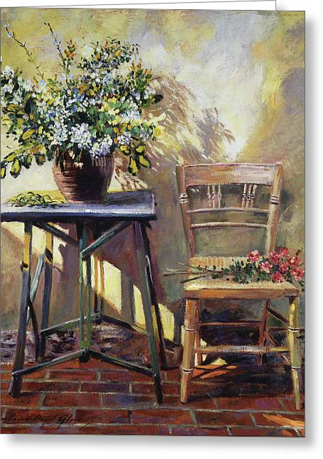 Pottery Maker's Table Greeting Card by David Lloyd Glover