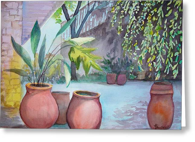 Greeting Card featuring the painting Pottery Place by AnnE Dentler