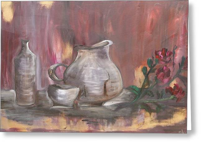 Greeting Card featuring the painting Pottery by Sladjana Lazarevic